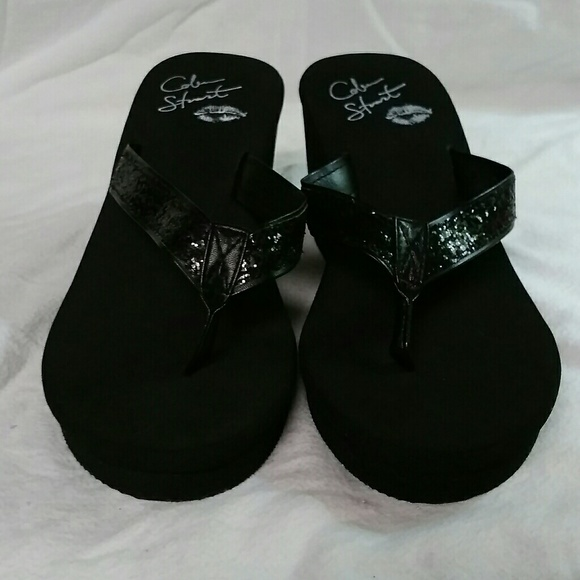 333ce220e52ab7 Colin Stuart Shoes - Colin Stuart Glitter Wedge Flip Flops